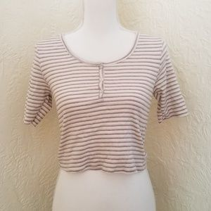 Sweet Claire striped 3/4 sleeve henley crop top